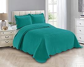 Smart Linen 3 Piece Solid Embossed Coverlet Bedspread Quilt Bedding Set Oversize New # Ashley (Full/ Queen, Turquoise)