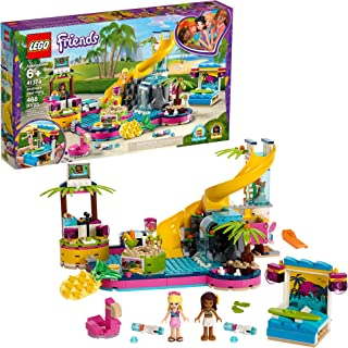 LEGO Friends Andrea's Pool Party 41374 Toy Pool Building Set with Andrea and Stephanie Mini Dolls for Pretend Play, Includes Toy Juice Bar and Wave Machine, New 2019 (468 Pieces)