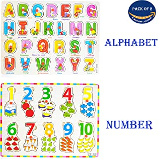 WISHKEY Wooden English Alphabet A to Z and Number Shapes with Early Educational Board for Kids