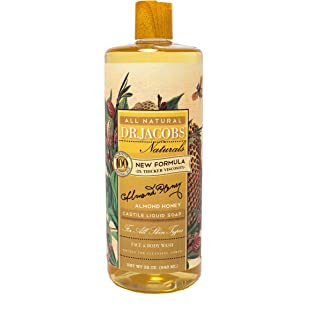 Dr. Jacobs Naturals Pure Castile Liquid Soap - Natural Face and Body Wash, Almond Honey 32 oz.