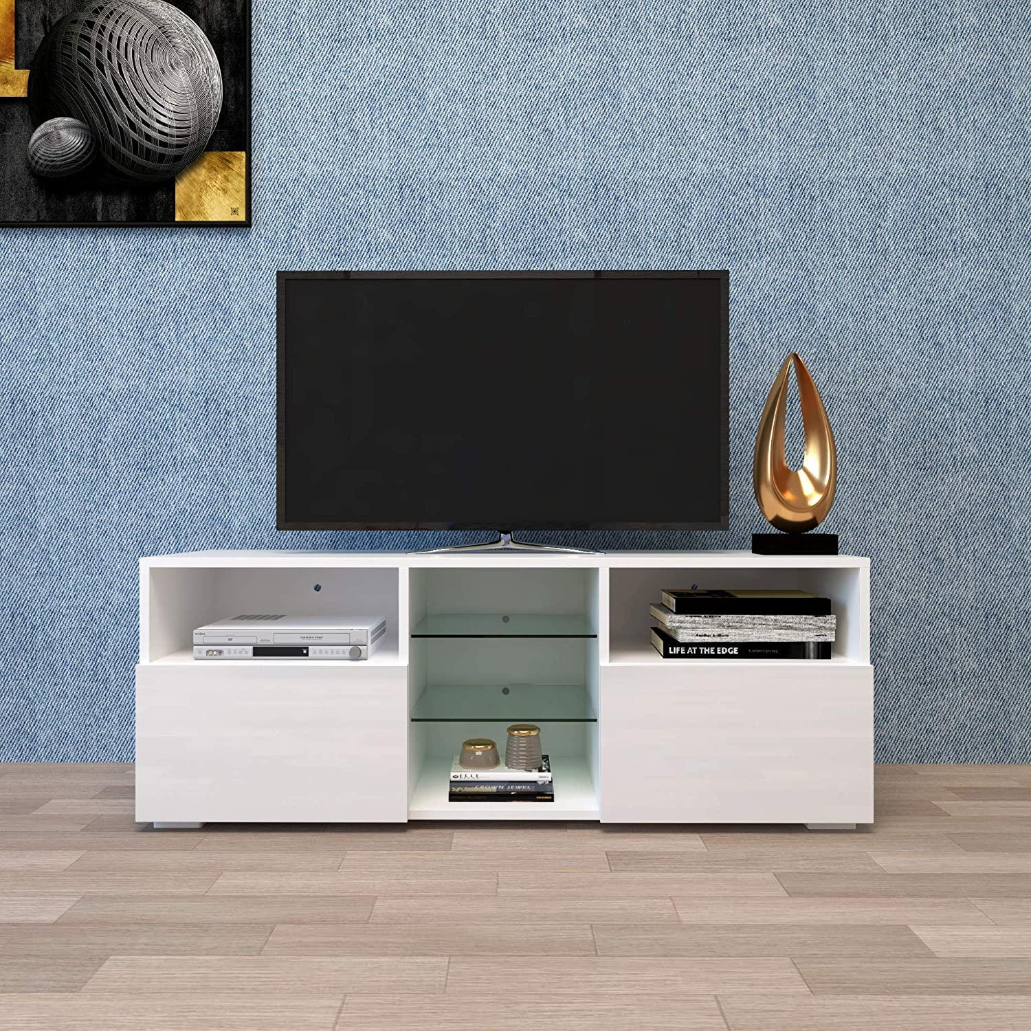 """Beauty4U Wood TV Stand for 55 Inch TV Console with Storage Large Media Console Modern Entertainment Center with Led Lights for Up to 55"""" Television"""