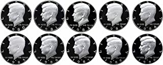 1980-1989 S Kennedy Half Dollars Gem Proof Run 10 Coins US Mint Decade Lot Complete 1980's Set