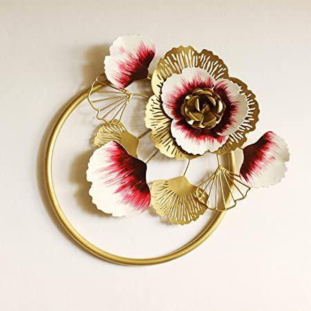 Artact Wall Art Flowers & Petals high Gloss Gold, White and Red Finish on Metal
