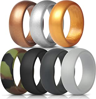 ThunderFit Silicone Rings, 7 Rings / 4 Rings / 1 Ring Wedding Bands for Men – 8.7..