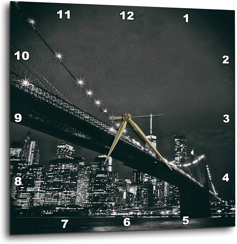 3dpink 3D pink New York Scene of The Brooklyn Bridge and Manhattan Skyline at Night-Wall Clock, 10-inch (DPP_219800_1)