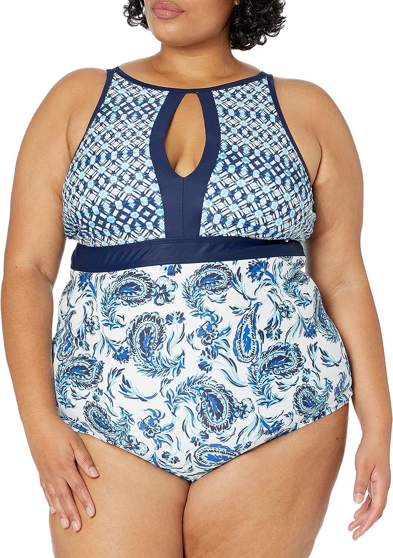 Amazon Brand - Coastal Blue Women's Plus Size Swimwear Empire Waist Colorblock Swimsuit
