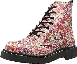 T.U.K. Shoes Women's Anarchic Hundreds & Thousands 7 Eye Combat Boots, Multi Colour, EU36 / UKW3