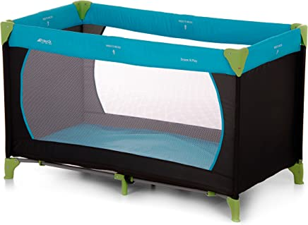 Hauck Dream-n-Play Travel Cot with Folding Mattress, 60 x 120 cm, Waterblue