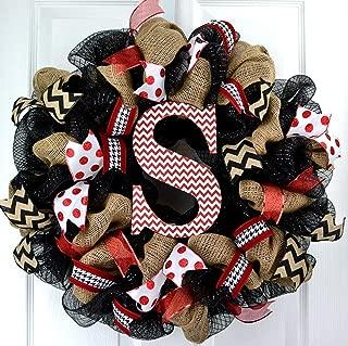 Burlap Monogram Letter Initial Mesh Outdoor Front Door Wreath; Black Red White Chevron