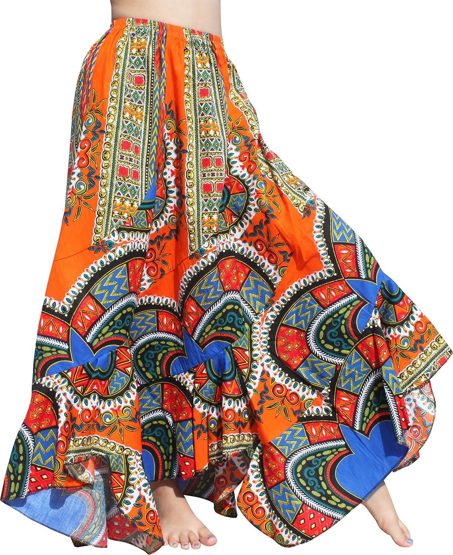 Raan Pah Muang Wild Festival Flamenco Dancing Skirt Dashiki Heart Patch Long