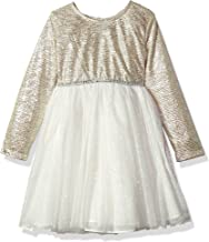 Youngland Little Girls' Novelty Texture Sparkle Knit Bodice With Mesh Skirt Gold/Ivory 6