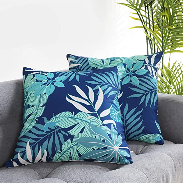 Uhomy Home Decorative Colorful Summer Vacation Cushion Cases Square Throw Pillow Covers Tropical Beach For Bed Sofa Tropical Leaves Canna 18x18 Inch 45x45 Cm Set Of 2