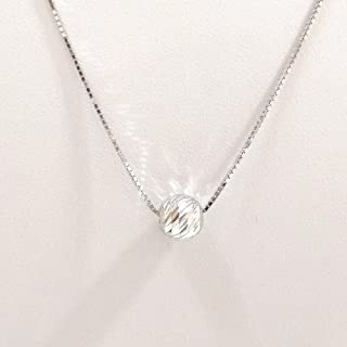 Rhodium Plated 925 Sterling Silver 1mm Box Chain Necklace with 8mm Laser Cut Diamond Cut Bead