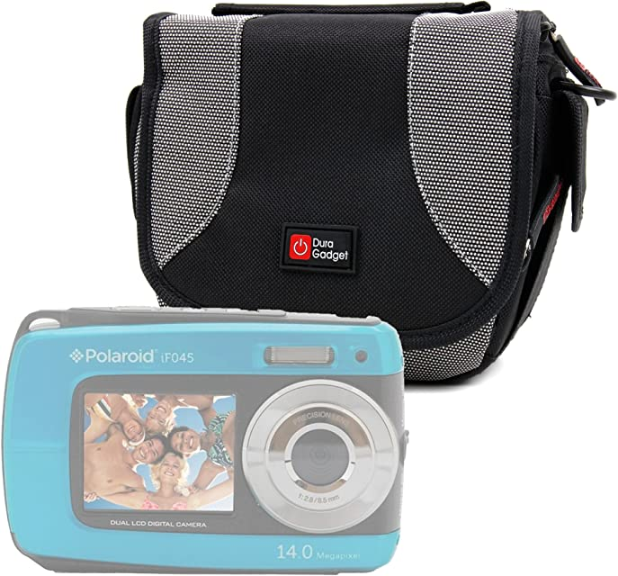 DURAGADGET Bolso para Cámara compacta Polaroid IF045 | Sony DSC-W810 | Fujifilm XP90 | Canon PowerShot SX620 HS - Negro Y Gris