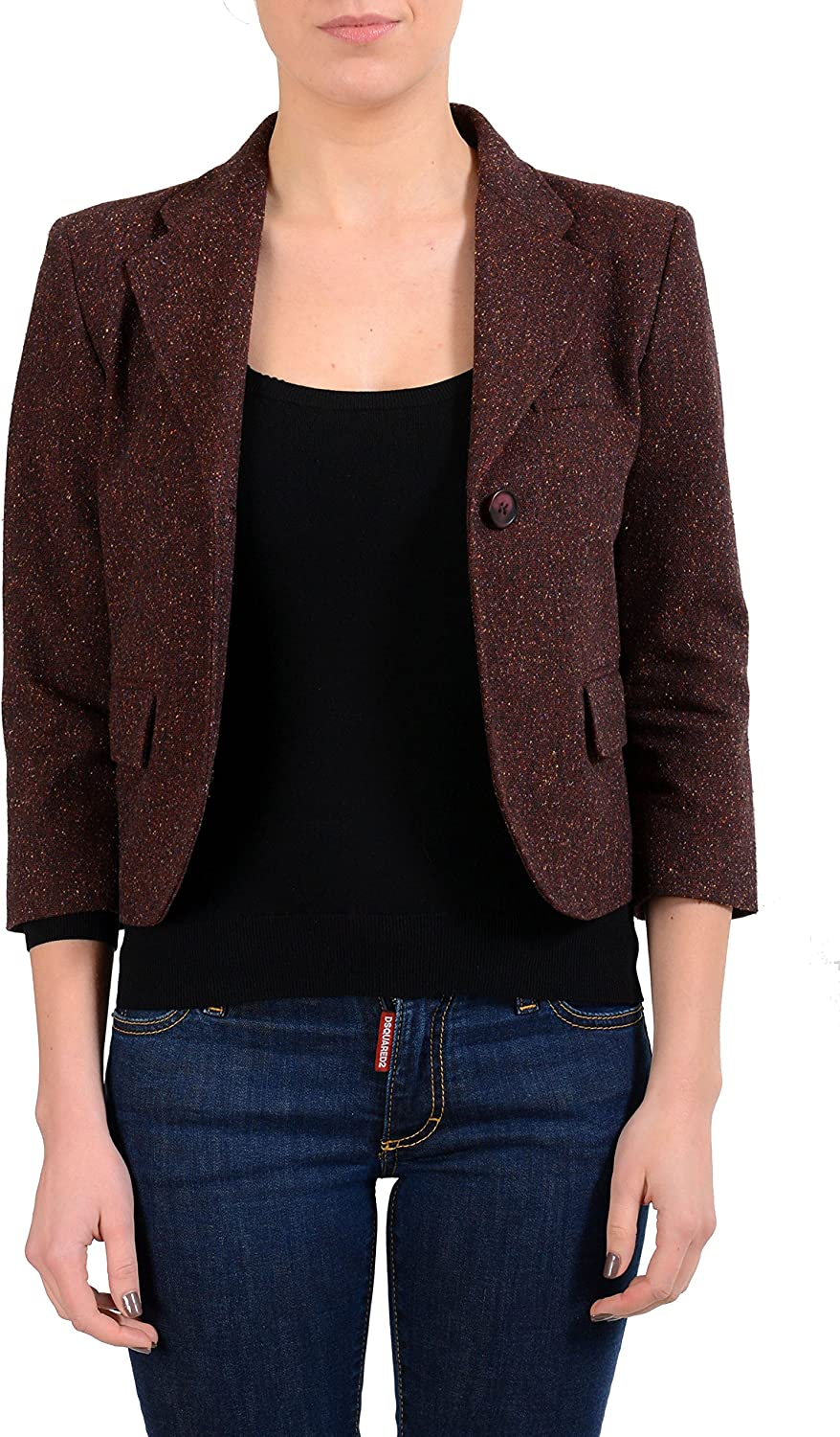 Maison Martin Margiela MM6 Women's Burgundy Wool One Button Blazer US M IT 42