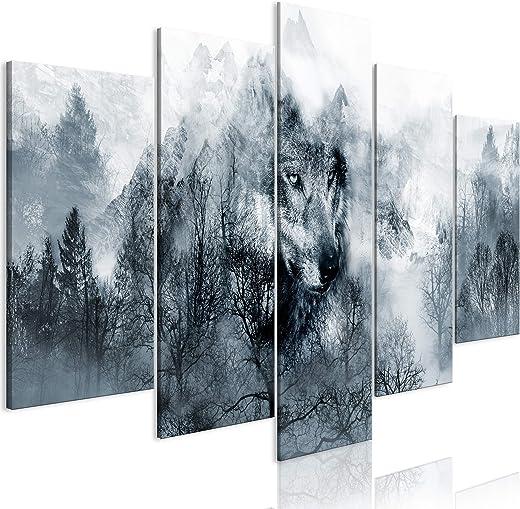decomonkey Bilder Wald Wolf 200×100 cm 5 Teilig Leinwandbilder Bild auf Leinwand Wandbild Kunstdruck Wanddeko Wand Wohnzimmer Wanddekoration Deko…