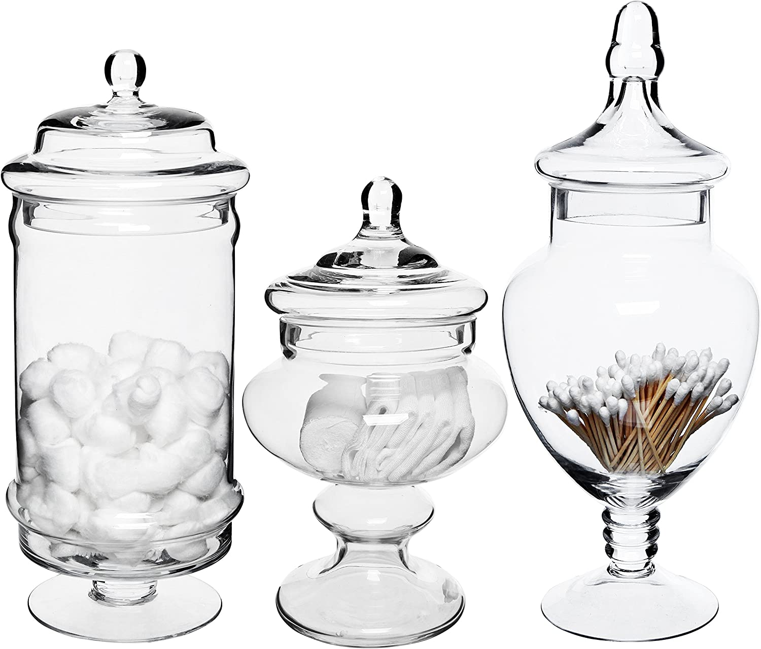 MyGift Set Long Beach Mall of 3 Deluxe Inventory cleanup selling sale Decorative Jars Apothecary Glass Bathroo