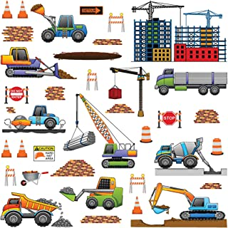 treepenguin Construction Trucks Wall Decals for Kids Rooms - Transportation Vehicles Work Site Wall Stickers for Boys Bedroom Playroom and Nursery
