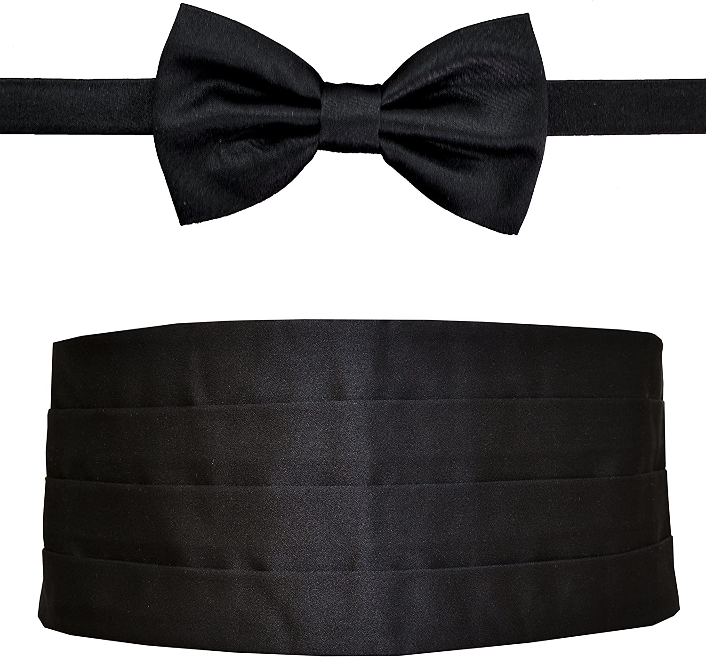 Remo Sartori Made in Italy Men's Black Cummerbund Tuxedo Belt & BowTie Set, Silk