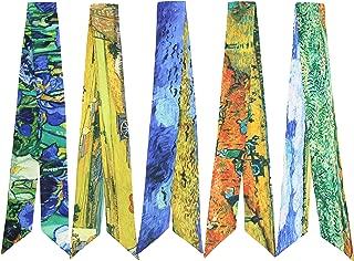 4-Pack Mini Scarf Fashion Ribbon Chic Handbag Band Handle Wrap Hair band Neck Tie Silky Ribbon