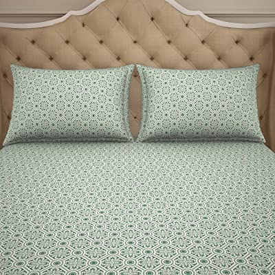 Welspun 2-in-1 Reversible 1 Polycotton Double Bed Sheet with 2 Pillow Covers, Green