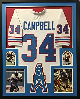 Earl Campbell Houston Oilers Signed Autograph Custom Framed White Jersey 4 Picture JSA Witnessed Certified
