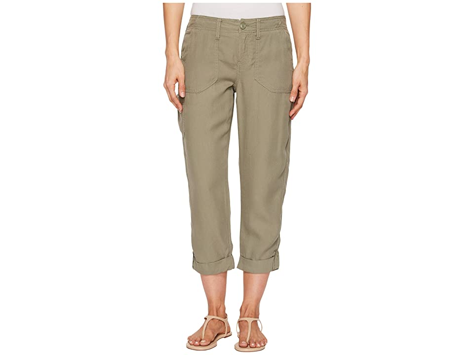 Liverpool Alani Straight Leg Cargo in Textured Tencel (Shadow Green) Women