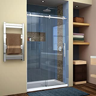 DreamLine Enigma Air 44-48 in. W x 76 in. H Frameless Sliding Shower Door in Polished Stainless Steel, SHDR-64487610-08