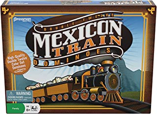 Pressman Mexican Train Dominoes Beautifully Colored Dominoes - Set Includes Train Markers and Hub