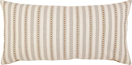 Stone & Beam Classic Accent Stripe Throw Pillow - 12 x 24 Inch, Gray / Gold