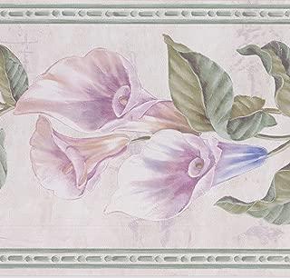 Purple Blue Flowers on Vine Floral Wallpaper Border Retro Design, Roll 15' x 7''