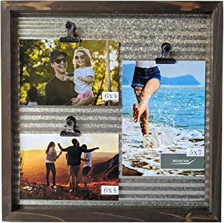 Modicum | Corrugated Metal Picture Frame with Clips - Photo Display Board for 3 Photos (Three 4x6, or Two 4x6 with One 5x7), Galvanized, Quick Change Photo Collage, Hang on Wall or Stand on Tabletop