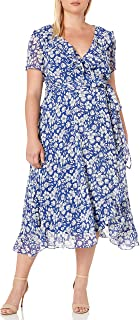 GABBY SKYE Women's Plus Size Short Sleeve V-Neck Printed Ruffle Dress