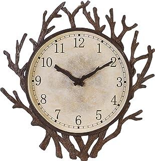 ساعة حائط بإطار معدني بتصميم فرع شجرة 53.34 سم من Bestim. للأماكن المغلقة/الحديقة