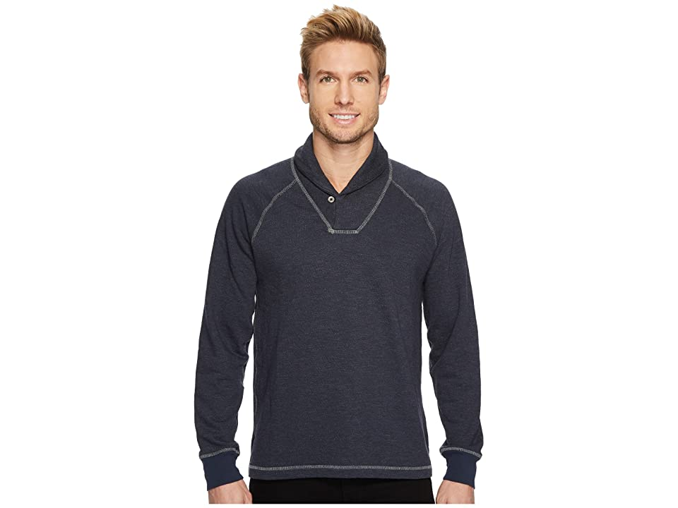 Agave Denim Swell Long Sleeve Shawl Mock Twist Terry (Blue Nights) Men's Long Sleeve Pullover
