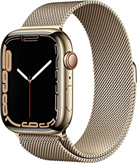 AppleWatch Series7 GPS+Cellular •45mm rostfri stålboett guld •Milanesisk loop guld