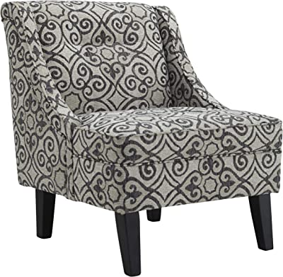 Benjara Fabric Upholstered Accent Chair with Suzani Print and Wingback, Gray