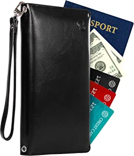 Bifold Travel Slim RFID Wallet Passport Leather Holder for Women with Bonus Shoulder Strap