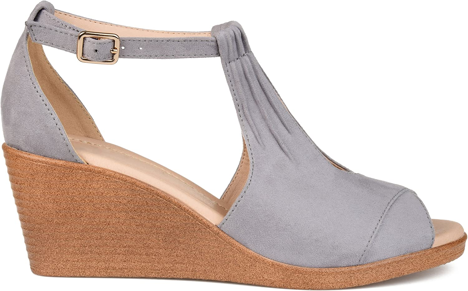 Brinley Co Womens Kealy Comfort-Sole Ankle-Strap Center-Cut Wedges