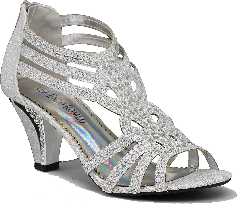 Enzo Romeo Kinmi25N Womens Open Mid Rhinestone Now on sale Super popular specialty store Toe Heel Wedding