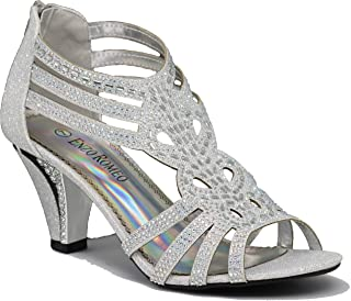 Enzo Romeo Kinmi25N Womens Open Toe Mid Heel Wedding Rhinestone Gladiator Sandal Shoes