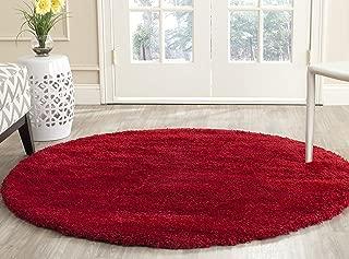 Safavieh Milan Shag Collection SG180-4040 Red Round Area Rug (3' Diameter)