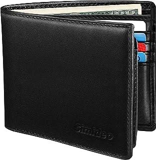 Simideo Mens Wallet TOP Genuine Leather RFID Wallet Slim Bifold Wallet with 2 ID Window