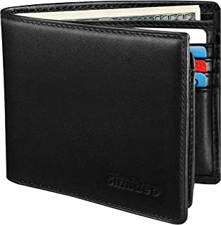 Men's Wallet TOP Genuine Leather RFID Wallet Bifold Trifold Slim Wallet with 2 ID Windows