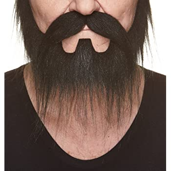 Yotako Fake Beard Costume Mustache False Facial Hair with 6 Pcs Fake Mustache Self-Adhesive for Adults,Child Party Supplies Black