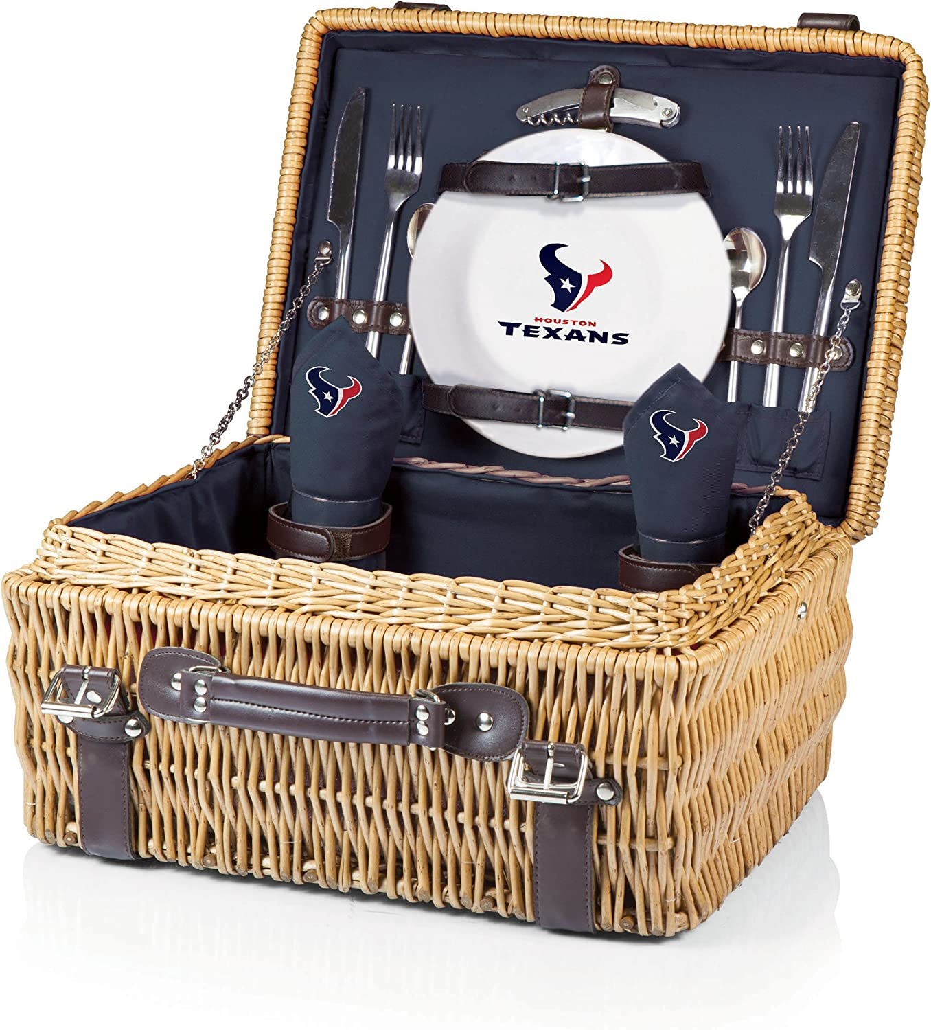 NFL Houston Texans Champion Picnic Basket with Deluxe Service for Two, Navy