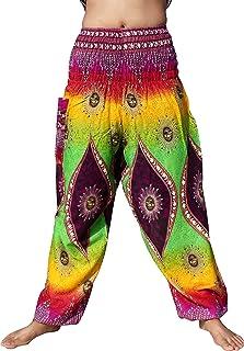 Full Funk Smocked Waist Rayon Aladdin Pants with Indiana Eye Artwork