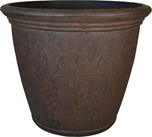 new arrival Sunnydaze Anjelica outlet sale Flower Pot Planter, Outdoor/Indoor Unbreakable Double-Walled Polyresin with UV-Resistant Rust Finish, Single, Large popular 24-Inch Diameter online