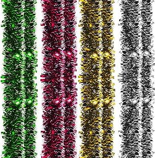 4 Piezas de Guirnalda de Oropel de Navidad Guirnalda Brillante Gruesa Decoración Colgante para Guirnalda de Árbol de Navidad Suministros para Banquetes de Boda (Oro, Plata, Rojo, Verde)