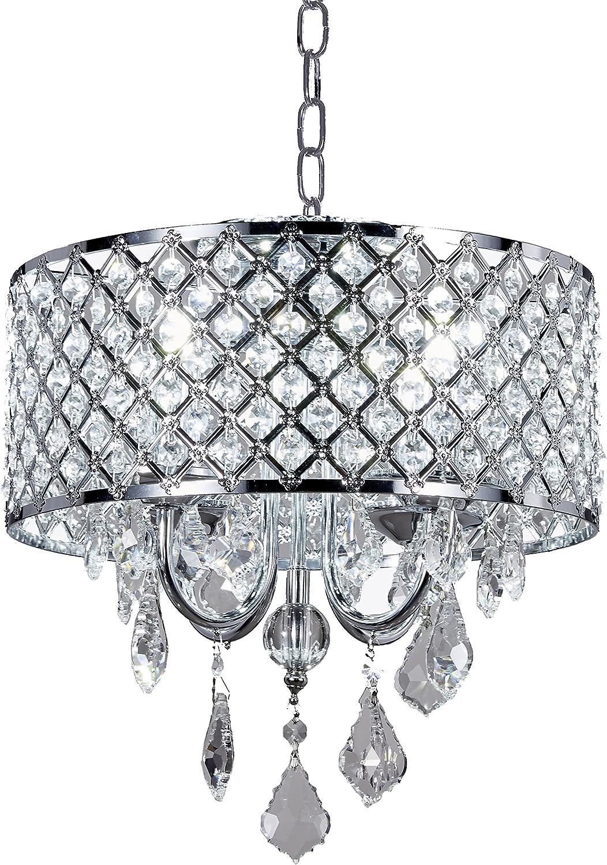 Max 84% OFF Diamond Life 4-Light Ranking TOP14 Chrome Round Shade Chandelier Metal Crystal